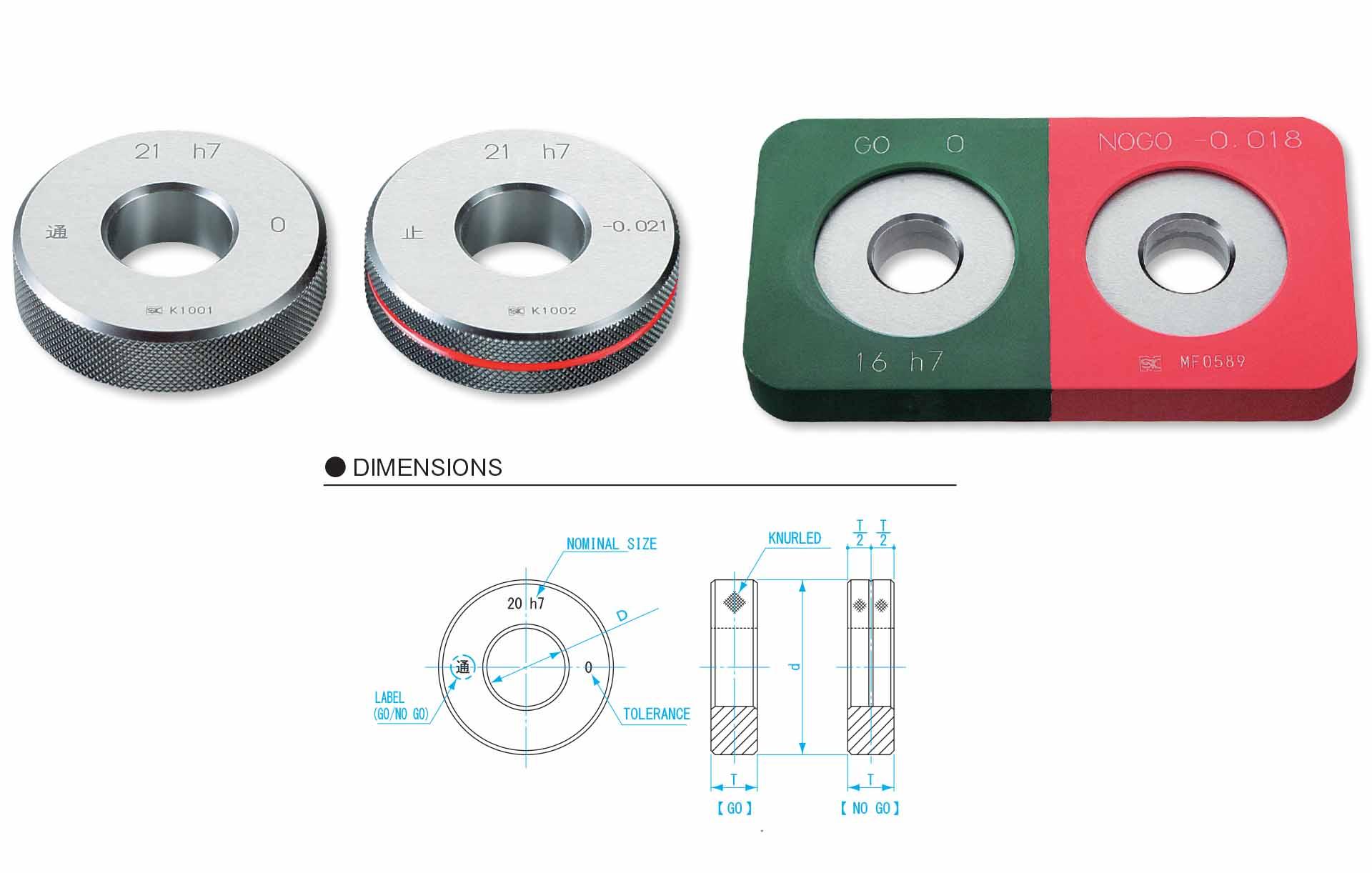 Vòng chuẩn niigataseiki đường kính 16mm Go-Nogo kiểu H7, LR16-H7